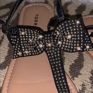 Torrid Black Bow Studded T- strap Sandal